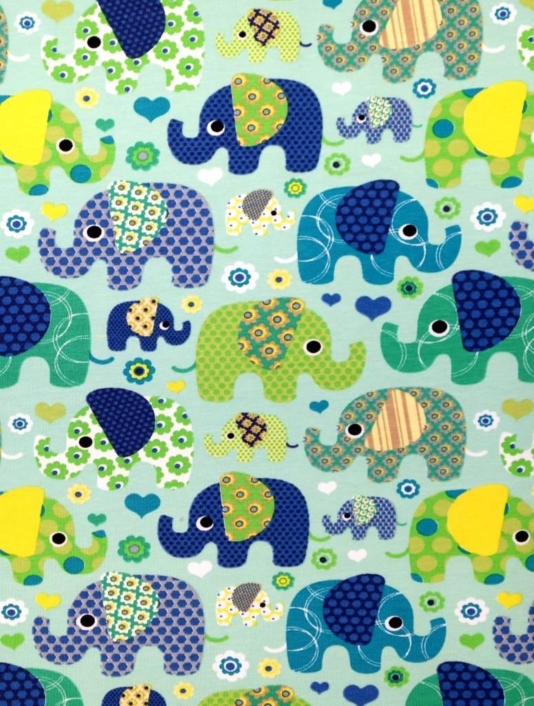 T-Shirt kurzarm, Elefanten auf mintgrün, Ärmeln kiwigrün