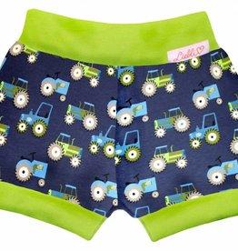 Bunter Short, Kurze Kinderhose, Traktor auf dunkelblau, Bündchen grün