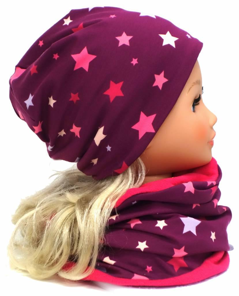 Mütze und Loopschal Set mit Fleece, bunte Sterne auf violett, für Kopfgrößen 46-56 cm