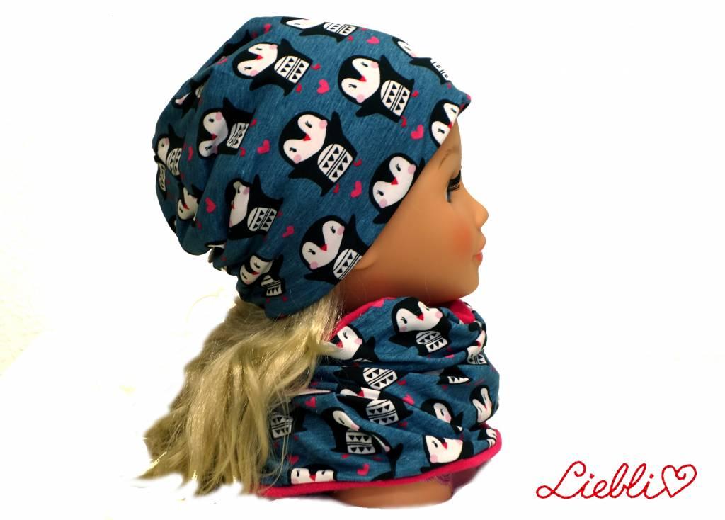 Mütze-Loopschal Set mit Fleece, Pinguine auf jeansblau, für Kopfgrößen 46-56 cm