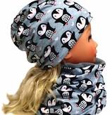Mütze-Loopschal Set mit Fleece, Pinguine auf grau, für Kopfgrößen 46-56 cm