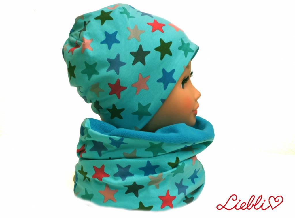 Mütze-Loopschal Set mit Fleece, Sterne auf türkis, für Kopfgrößen 46-56 cm