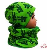 Mütze-Loopschal Set mit Fleece, Krokodil auf grün, für Kopfgrößen 46-56 cm