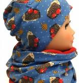 Warme Kindermütze mit passendem Loopschal, Igel auf jeansblau