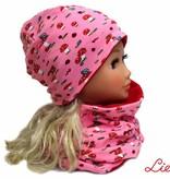 Mütze-Loopschal Set mit Fleece, Fliegenpilz auf rosa, für Kopfgrößen 46-56 cm