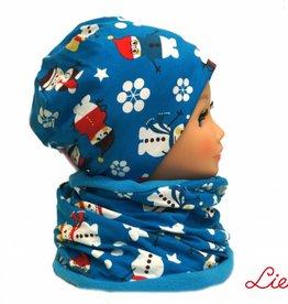 Warme Kindermütze mit passendem Loopschal, Schneemänner blau