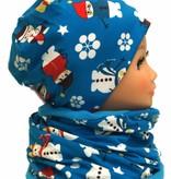 Mütze-Loopschal Set mit Fleece, Schneemann blau, Kopfgrößen 46-56 cm