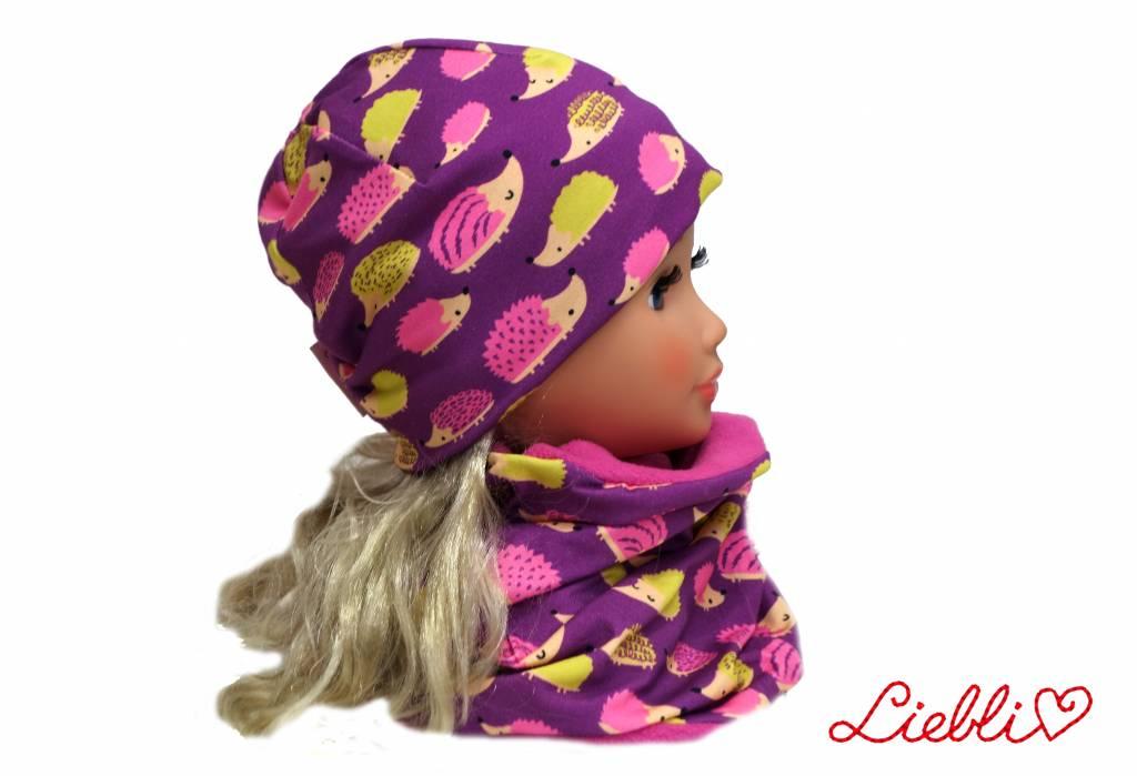 Mütze-Loopschal Set mit Fleece, Igel auf violett, Kopfgrößen 46-56 cm