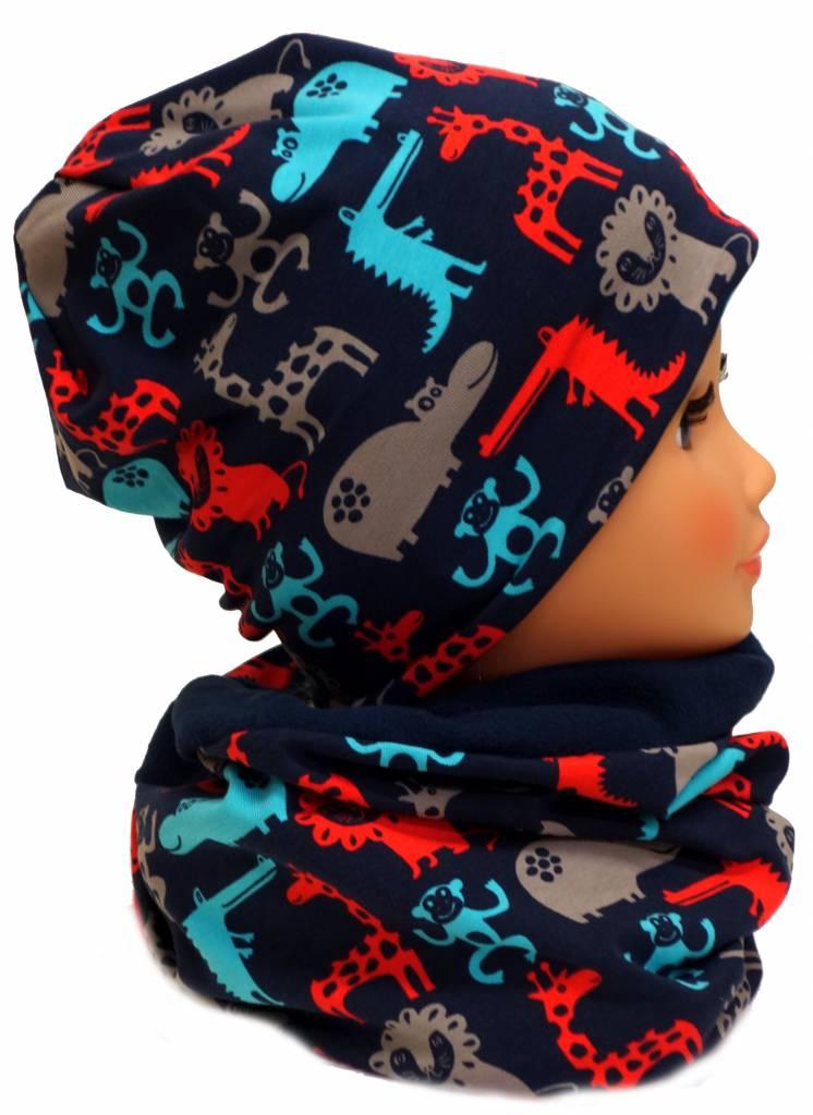 Warme Kindermütze mit passendem Loopschal, Zootiere dunkelblau-rot