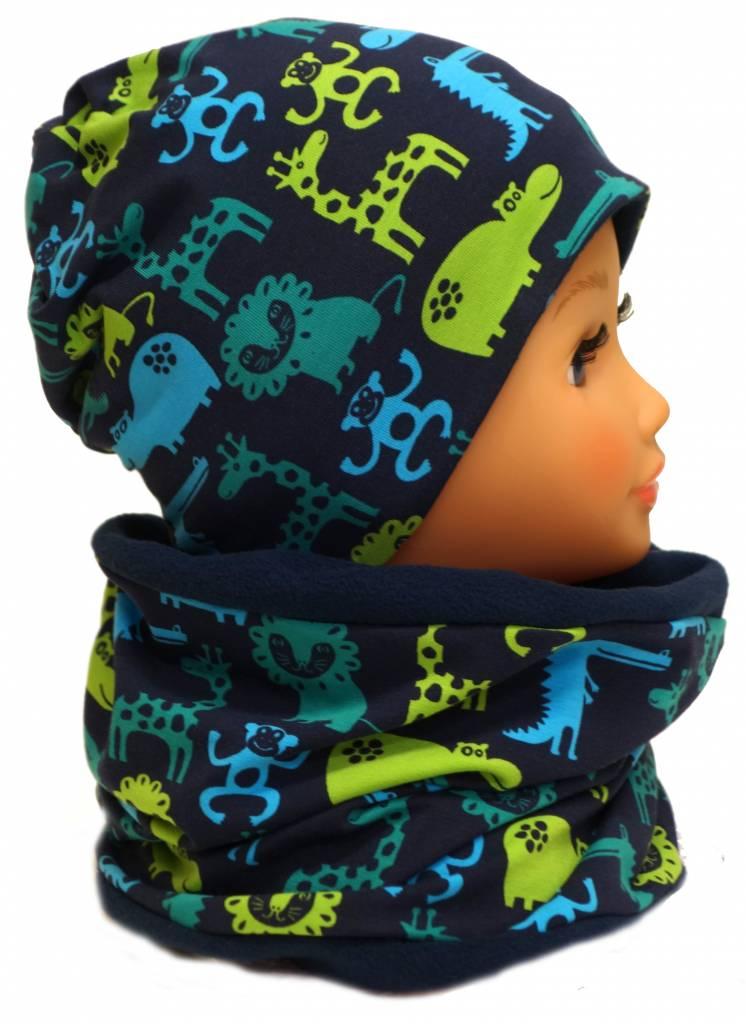 Warme Kindermütze mit passendem Loopschal, Zootiere dunkelblau grün
