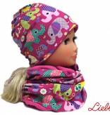 Warme Kindermütze / Wintermütze mit passendem Schal, Elefanten lila