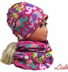Warme Kindermütze mit passendem Schal, Elefanten lila