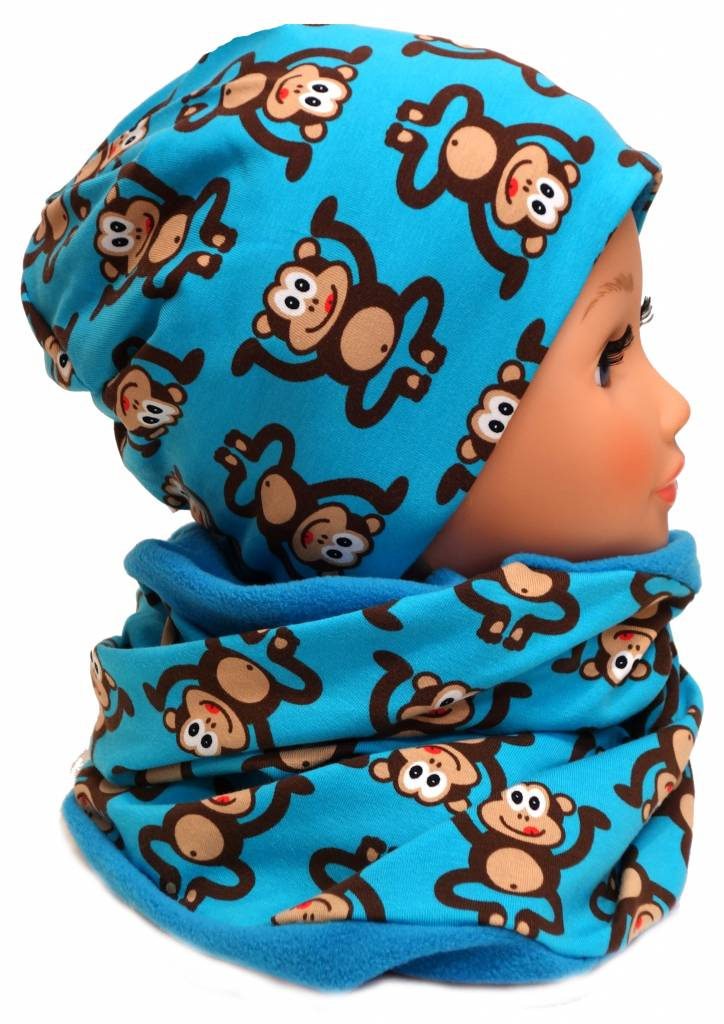 Warme Kindermütze / Wintermütze mit passendem Loopschal, Affen auf blau