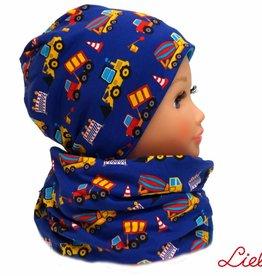 Warme Kindermütze mit passendem Loopschal, Bagger auf blau