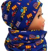 Warme Kindermütze / Wintermütze mit passendem Loopschal, Bagger auf blau