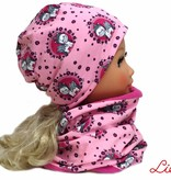 Mütze-Loopschal Set mit Fleece, Einhörner pink rosa, Kopfgrößen 46-56 cm