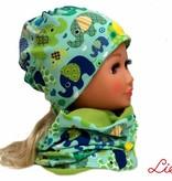 Warme Kindermütze / Wintermütze mit passendem Loopschal, Elefanten grün