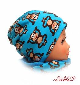Mütze mit Fleece, Affen auf türkis, für Kopfgrößen 38-56 cm