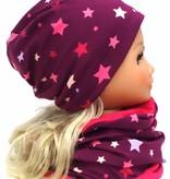 Mütze mit Fleece, bunte Sterne auf violett, für Kopfgrößen 38-56 cm