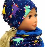 Kindermütze, Wintermütze mit Fleece, Einhörner auf blau