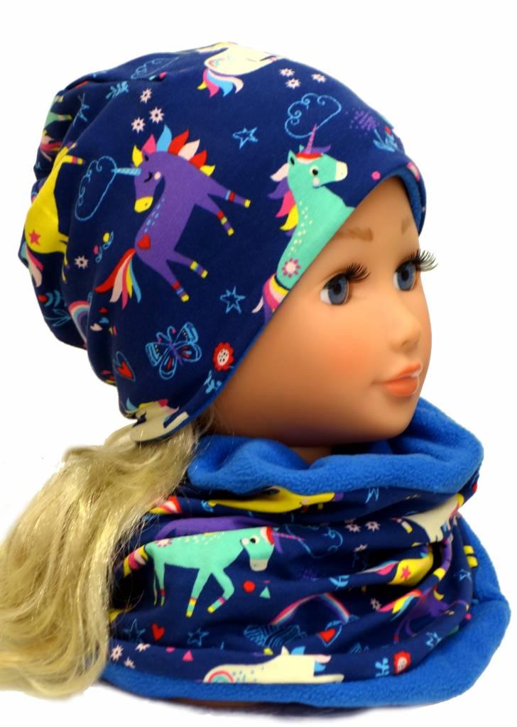 Mütze mit Fleece, Einhörner auf dunkelblau, für Kopfgrößen 38-56 cm
