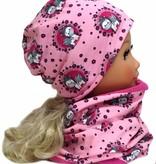 Kindermütze, Wintermütze mit Fleece, Einhörner rosa