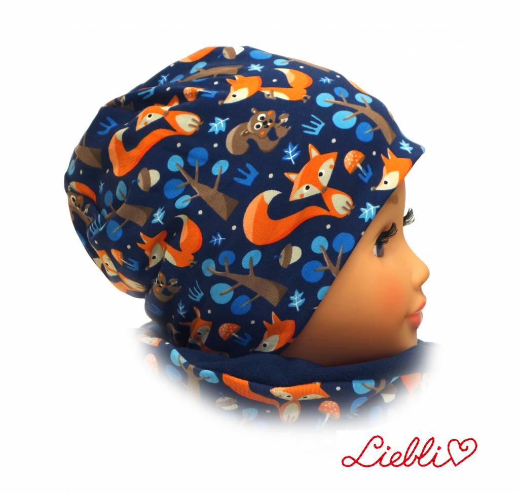 Mütze mit Fleece, Füchse auf dunkelblau, für Kopfgrößen 38-56 cm