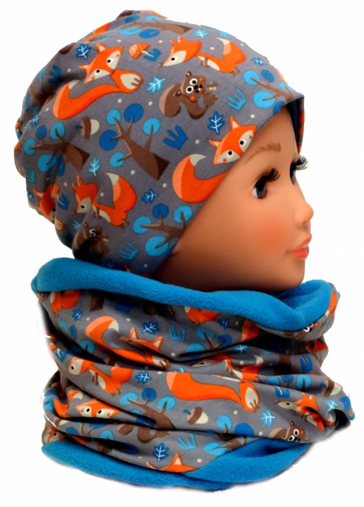 Mütze mit Fleece, Füchse auf grau, für Kopfgrößen 38-56 cm