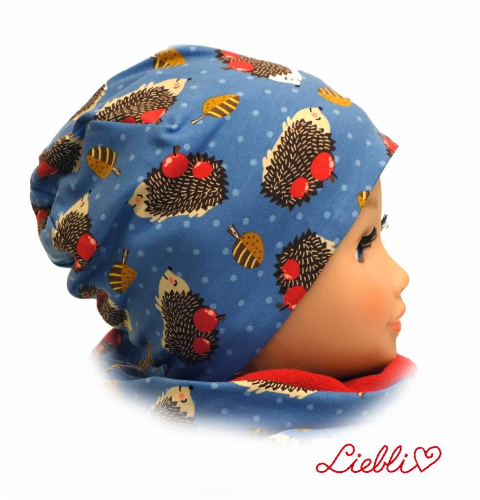 Mütze mit Fleece, Igel auf jeansblau, für Kopfgrößen 38-56 cm
