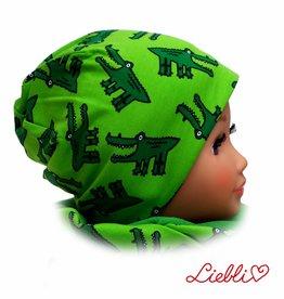 Kindermütze, Wintermütze mit Fleece, Krokodil grün