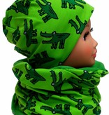Kindermütze, Beanie, Wintermütze mit Fleece, Krokodil grün