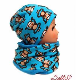 Warme Kindermütze mit passendem Loopschal, Affen auf blau