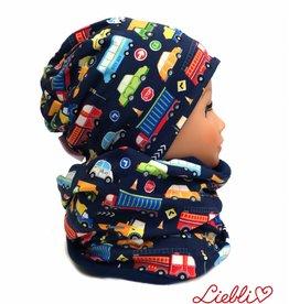 Mütze-Loopschal Set mit Fleece, Autos auf dunkelblau, für Kopfgrößen 46-56 cm