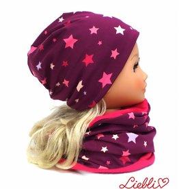 Mütze-Loopschal Set mit Fleece, bunte Sterne auf violett, für Kopfgrößen 46-56 cm