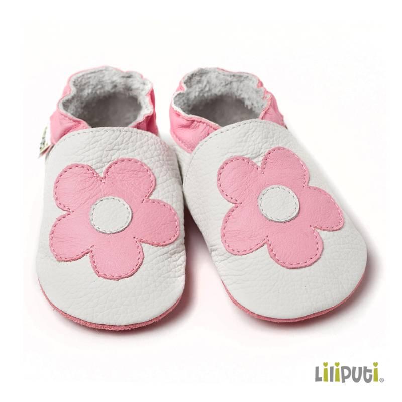 Liliputi Lederpuschen Blume rosa weiss