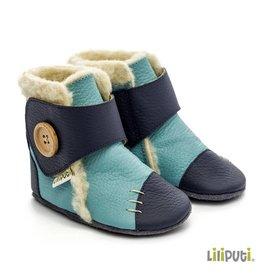 """Liliputi Leder Babystiefel dunkelblau hellblau """"North Sea"""", mit Schafwolle gefüttert"""