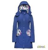 Premium 4 in 1 (!) Tragemantel von Liliputi in blau, für Schwangerenbauch, vorne/hinten tragen, und auch  danach. Die bunte Taschenöffnungen sind zuklappbar.