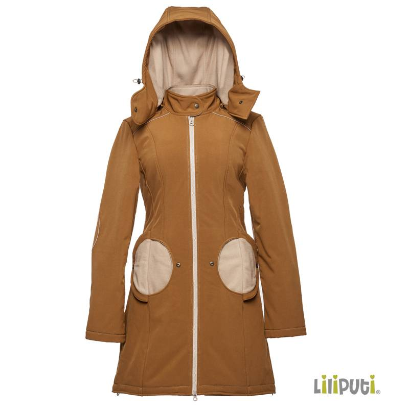 Premium 4 in 1 (!) Tragemantel von Liliputi in saffron-beige, für Schwangerenbauch, vorne/hinten tragen, und auch  danach. Die bunte Taschenöffnungen sind zuklappbar.