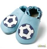 Liliputi Lederpuschen Fußball hellblau