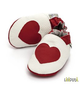 Liliputi Lederpuschen Herz rot weiss