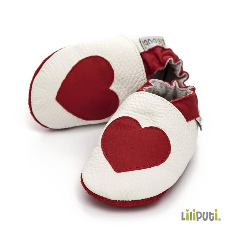 Liliputi Lederpatschen Herz rot weiss