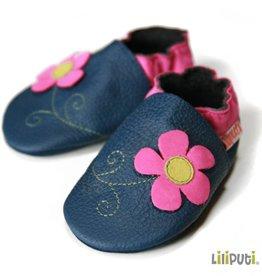 Liliputi Lederpuschen Blume dunkelblau pink