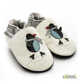 Liliputi Lederpuschen Pinguin weiss