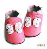 Liliputi Lederpuschen Schmetterling pink