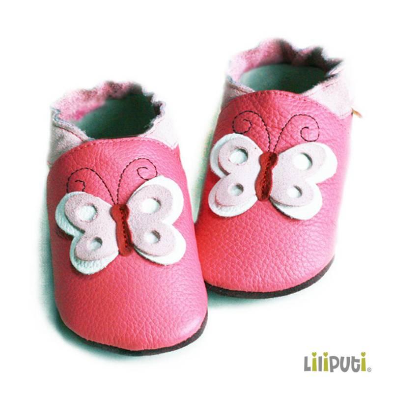 Liliputi Lederpuschen Schmetterling Pink Liebli Kindermode 1030 Wien