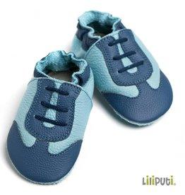 Liliputi Lederpuschen Sportschuh design blau
