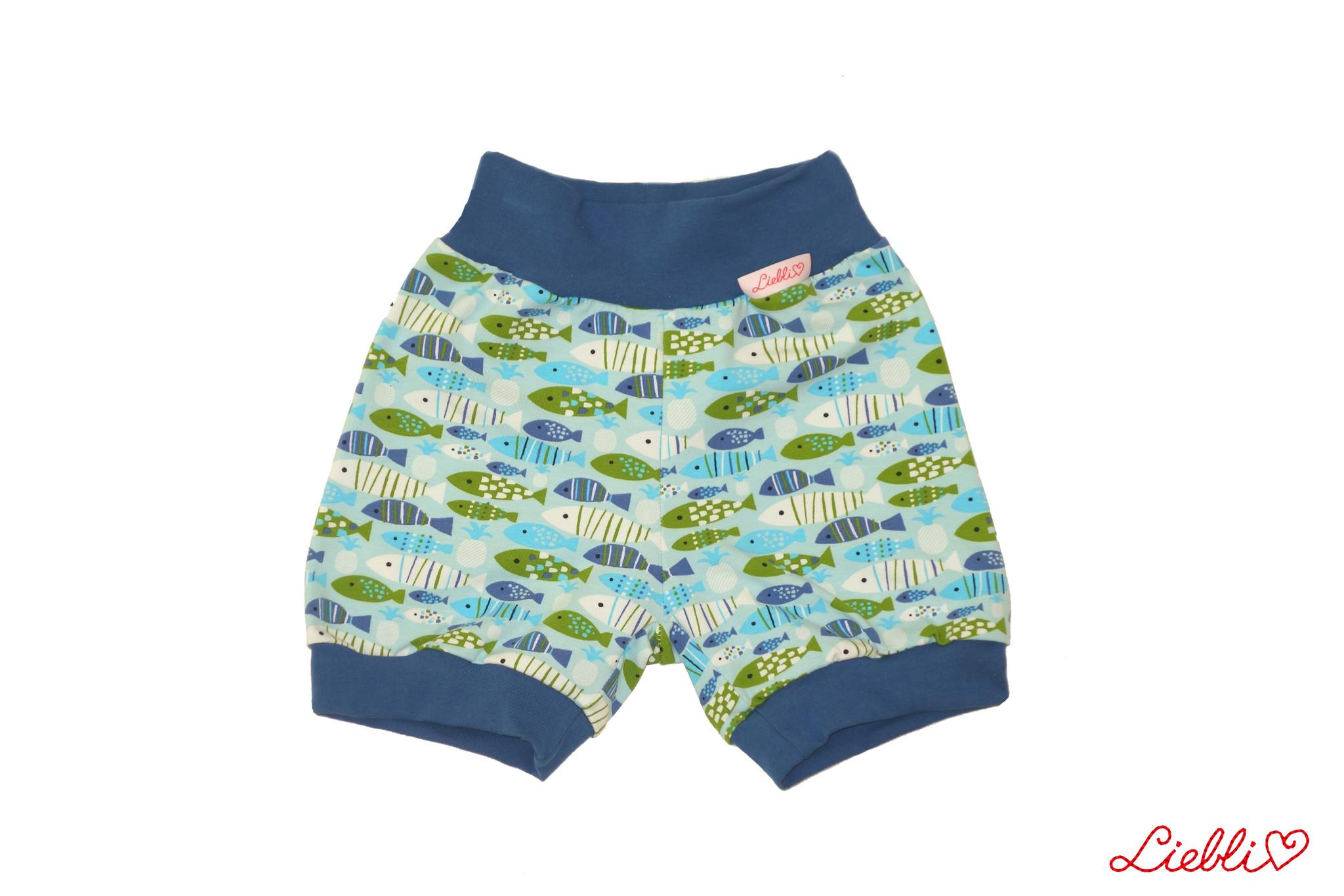 Bunter Short, kleine Fische blau grün
