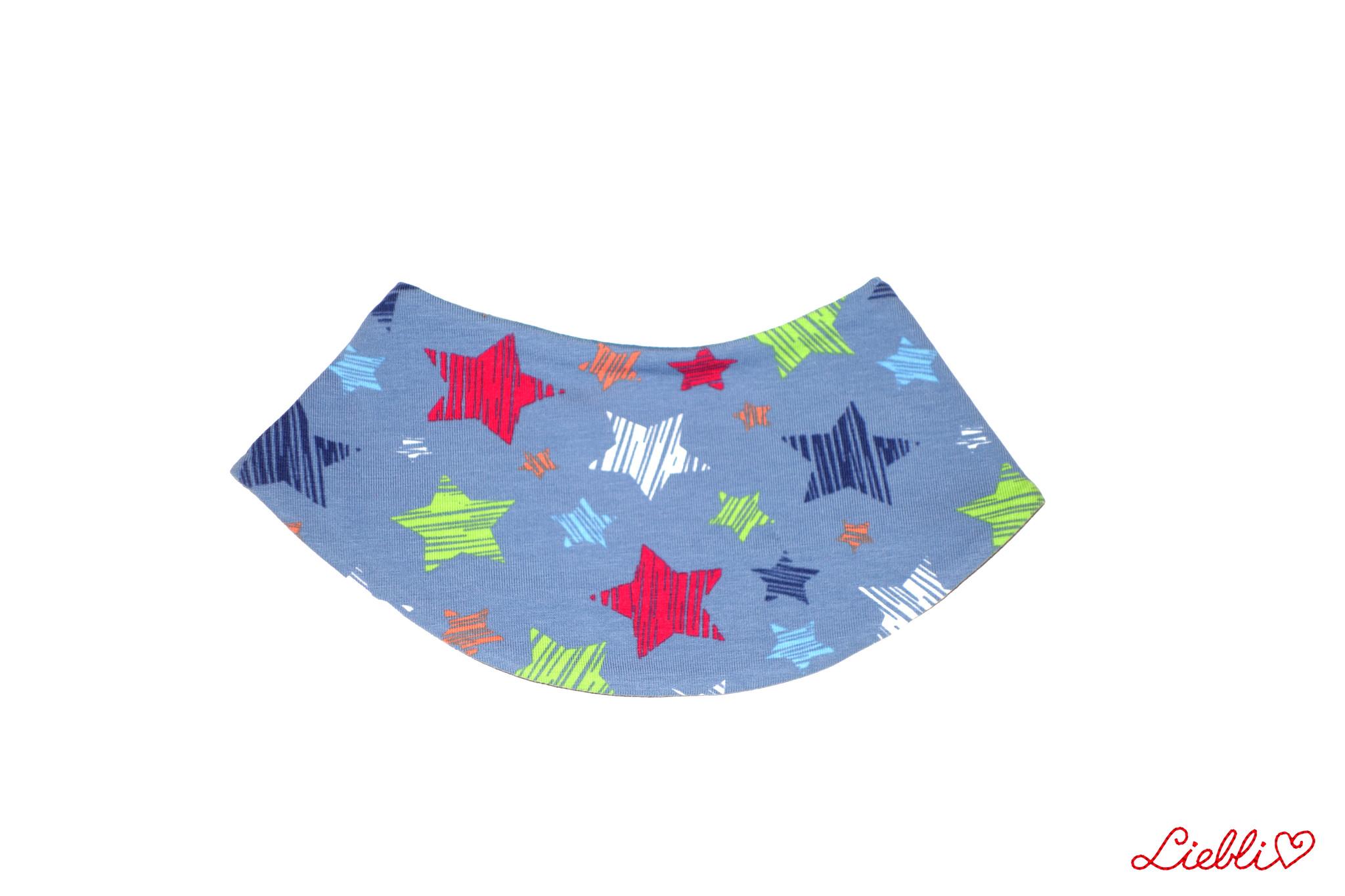 Dreieckstuch bunte Sterne auf jeansblau