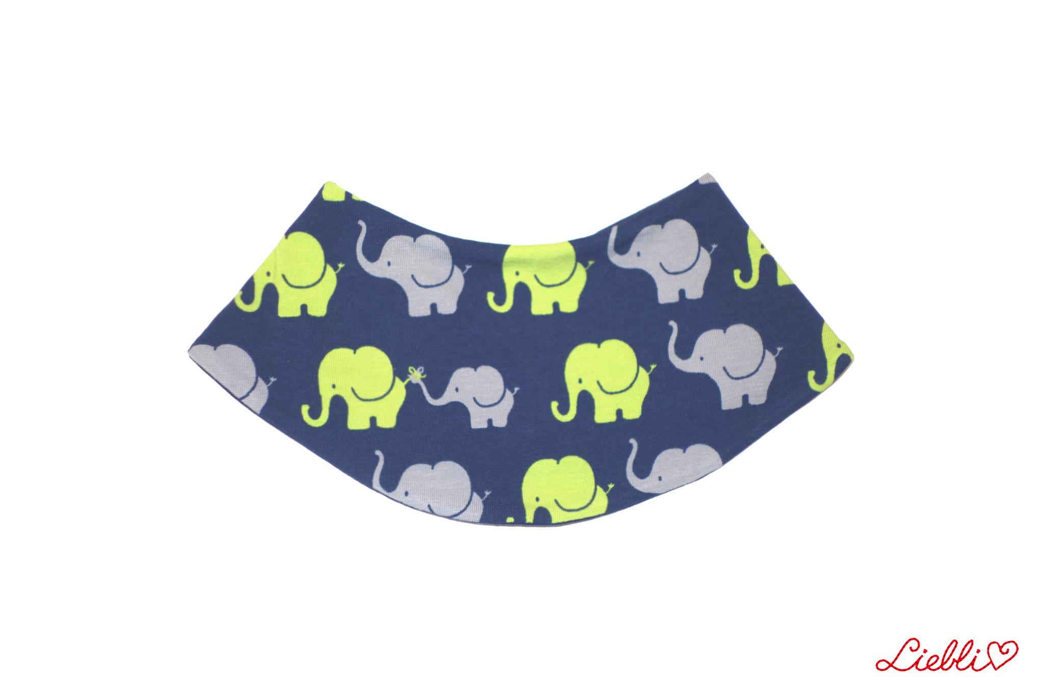 Dreieckstuch Elefanten auf dunkelblau