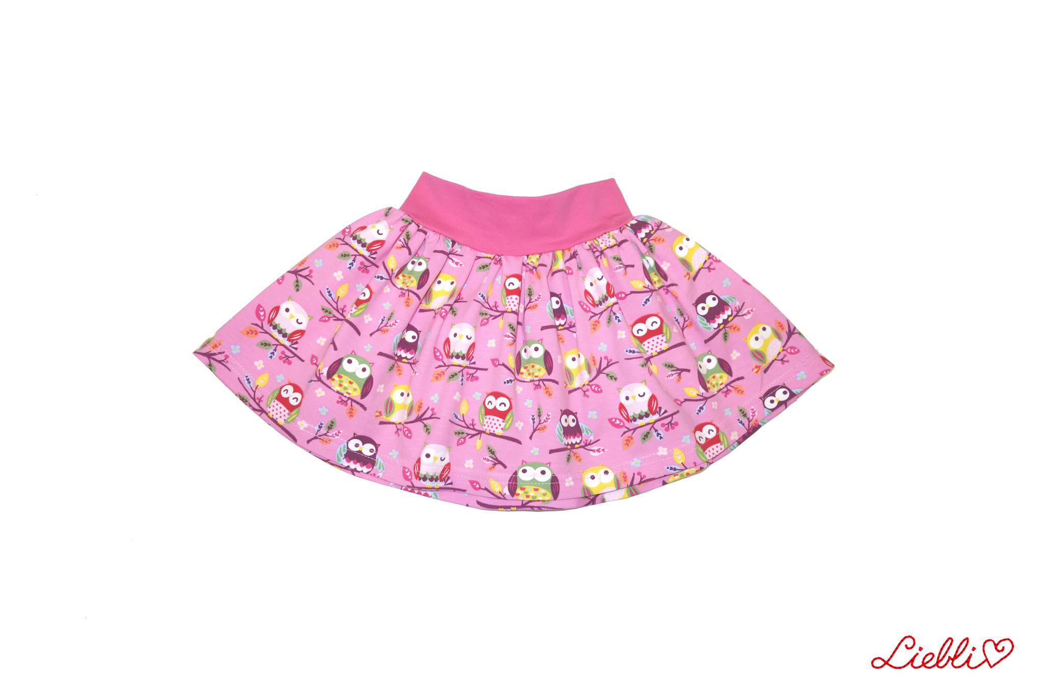 Minirock, Jersey Rock, Drehrock, Mädchenrock, Eulen auf rosa